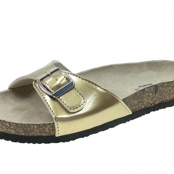 Dámské zlaté lakované pantofle Beppi