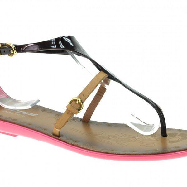 Dámské růžovo-černé sandálky s béžovým páskem Beppi