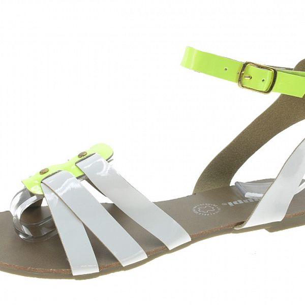 Dámske bielo-zelené neonové sandálky Beppi