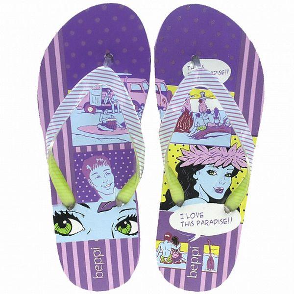 Dámské fialové žabky s komiksovým potiskem Beppi