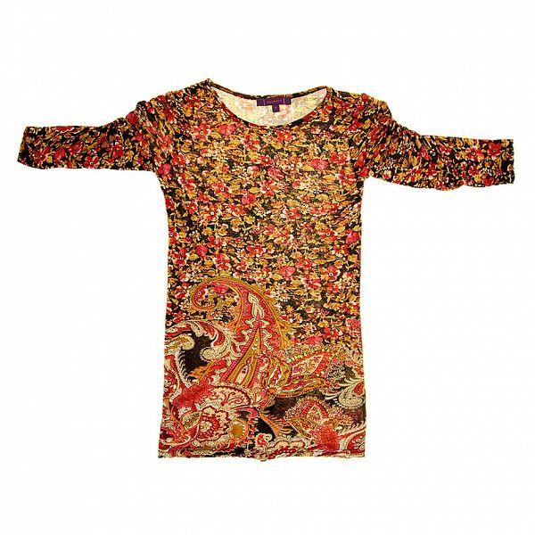 Detské hnedo-červené vzorované šaty s naberanými rukávmi Peace&Love