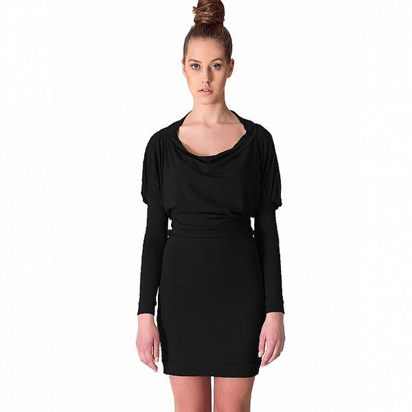 Dámske čierne šaty s riasenými rukávmi Yuliya Babich