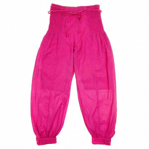 Detské ružové nohavice so žabičkovaním Peace&Love