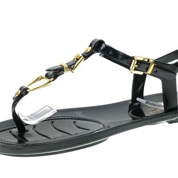 Dámske čierne sandálky so zlatými detailmi Beppi