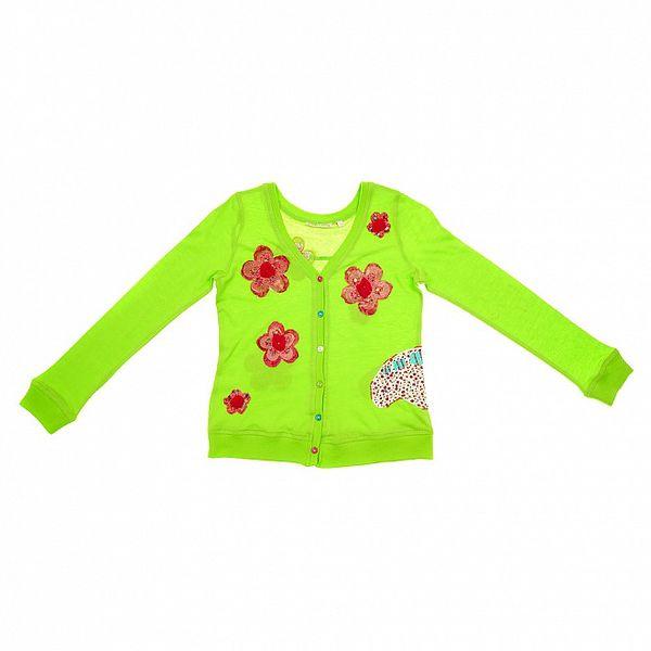Detský zelený cardigan s kvetinami Peace&Love