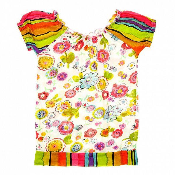 Detské pestré tričko s volánkovými rukávmi Peace&Love