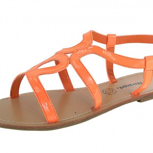 Dámske pomarančové sandálky s béžovou podrážkou Beppi