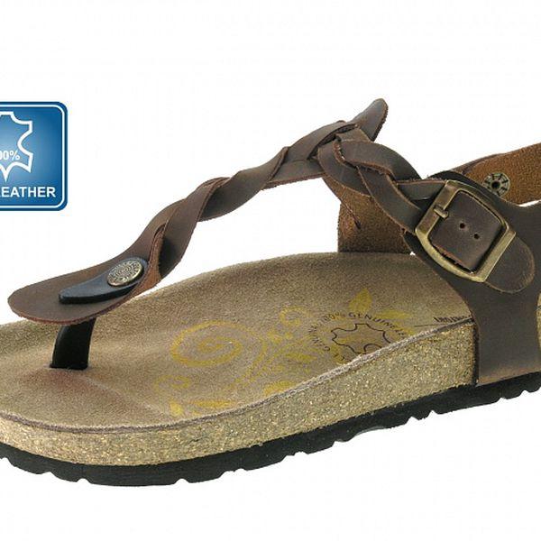 Dámské hnědé kožené sandále Beppi