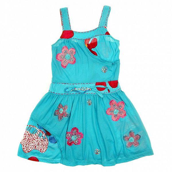 Dětské tyrkysové šaty s růžovými květinami Peace&Love