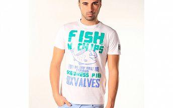 Pánské modro-bílé triko s gurmánským potiskem SixValves