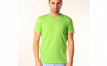 Pánské hráškově zelené triko s véčkovým výstřihem SixValves