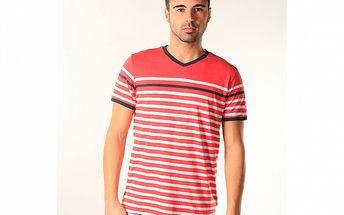 Pánské červeno-bílé pruhované triko SixValves