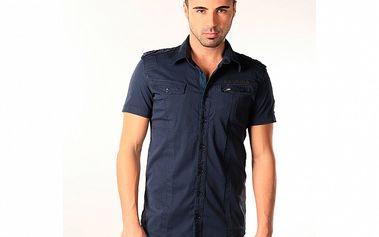 Pánska tmavo modrá bavlněná košeľa s krátkym rukávom SixValves