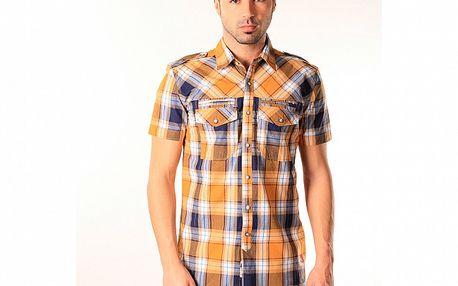 Pánska modro-oranžová kockovaná košeľa SixValves