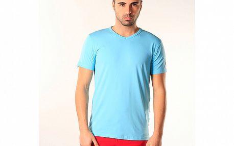 Pánské světle modré triko s véčkovým výstřihem SixValves