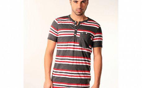 Pánské šedé triko s červeno-bílými pruhy SixValves