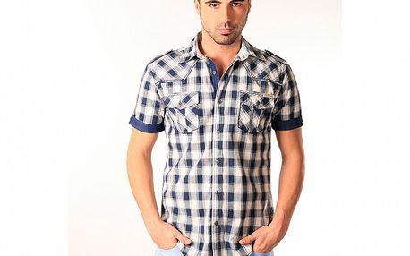 Pánska modro-biela kockovaná košeľa SixValves