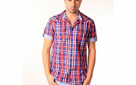 Pánska modro-červená kockovaná košeľa SixValves