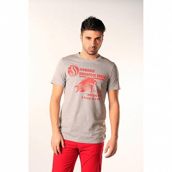 Pánské šedé triko s červeným potiskem SixValves