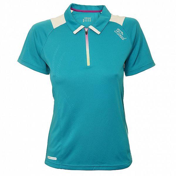 Dámske tyrkysové tenisové tričko s bielymi detailami Head