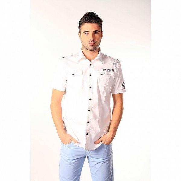 Pánska biela košeľa s černými gombíkmi SixValves