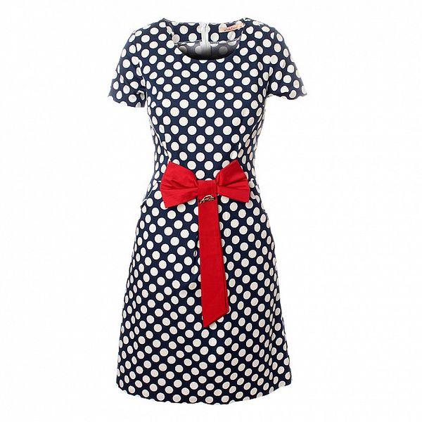 Dámské tmavě modré puntíkované šaty Via Bellucci s červenou mašlí