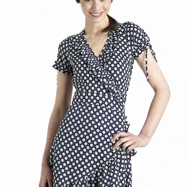 Dámské modré zavinovací šaty s kopretinami Uttam Boutique