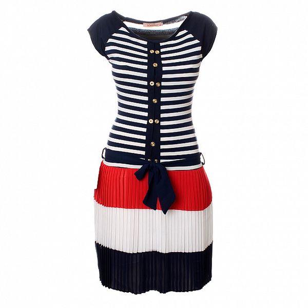 Dámske modro-červeno-biele šaty Via Bellucci