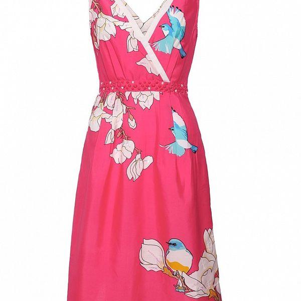 Dámské korálově růžové šaty Uttam Boutique se sýkorkami