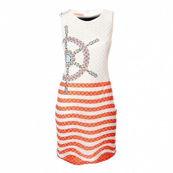 Dámské bílo-červené krajkové šaty Via Bellucci s kormidlem