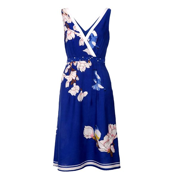 Dámske modré šaty Uttam Boutique so sýkorkami