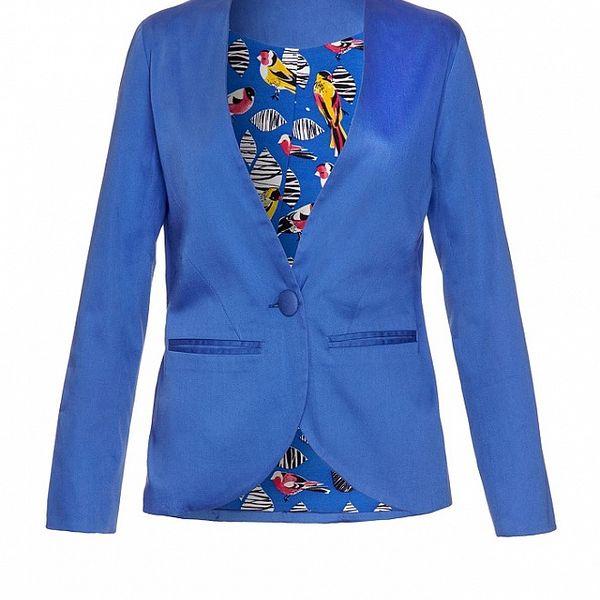 Dámske modré sako s vtáčou podšívkou Uttam Boutique
