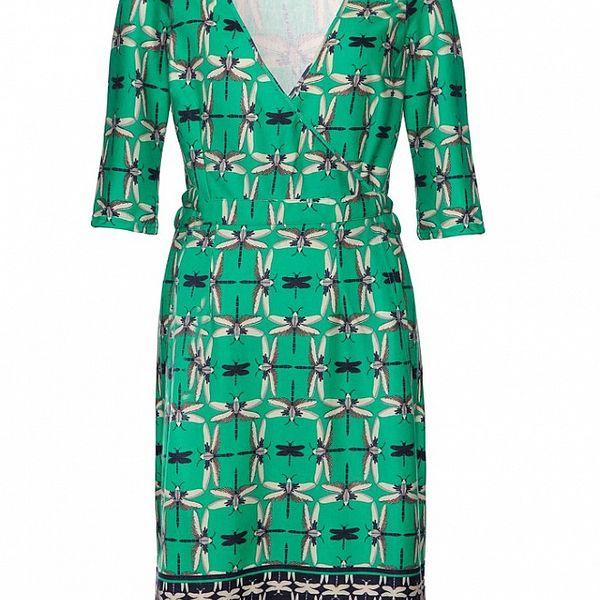 Dámske zeleno-modré šaty Uttam Boutique s vážkami