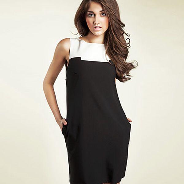 Černo-bílé šaty bez rukávů Nife