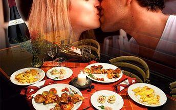 Romantická večeře pro 2 s lahví kvalitního vína