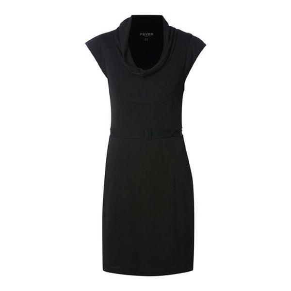 Dámské černé šaty s tunýlkovým výstřihem a páskem Fever