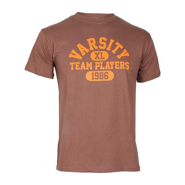 Pánské triko Varsity Team Players hnědé oranžový potisk