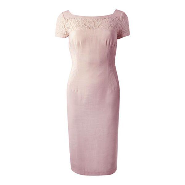 Dámske svetlo ružové šaty s čipkou Fever