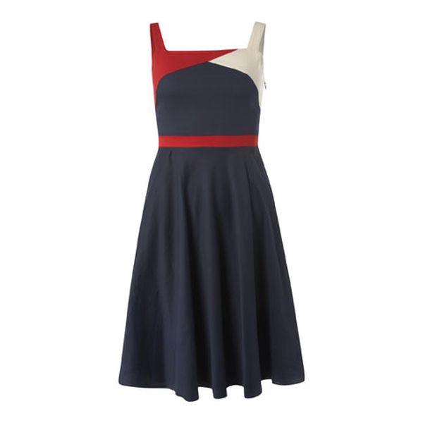 Dámské tmavě modré šaty s bílo-červenými detaily Fever