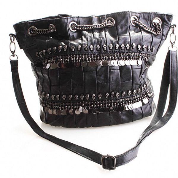 Dámská černá sešívaná kabelka Belle&Bloom s lebkami a kovovými flitry