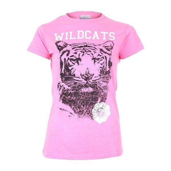 Dámské triko Varsity Team Players růžové zvířecí potisk