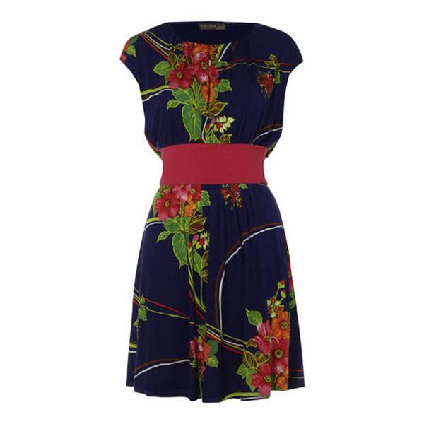 Dámské modro-červené letní šaty s květinovým vzorem Fever