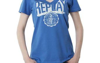 Dámské triko Replay modré bílý nápis
