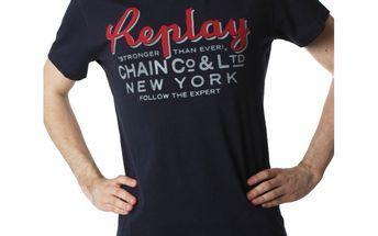 Pánské triko Replay tmavě modré červený nápis