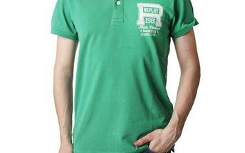 Pánské polo triko Replay zelené bílý nápis