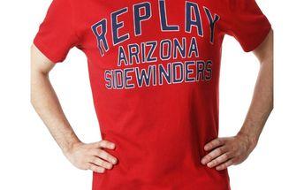 Pánské triko Replay červené modrý nápis