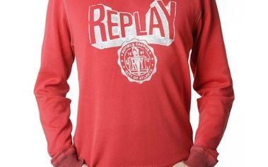 Pánská mikina Replay červená bílý nápis