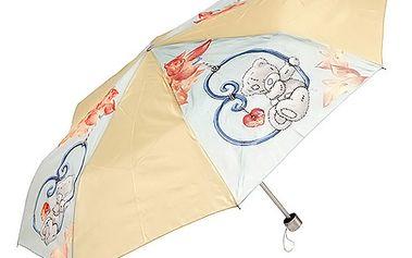 Kvalitní skládací deštník s motivem medvídka Me to You, barva žluto modrá.