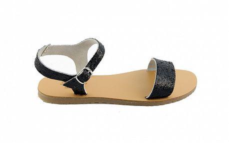 Dámske čierne kožené sandále Pelledoca s trblietkami