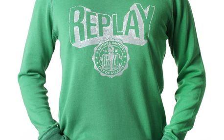 Pánská mikina Replay zelená bílý nápis